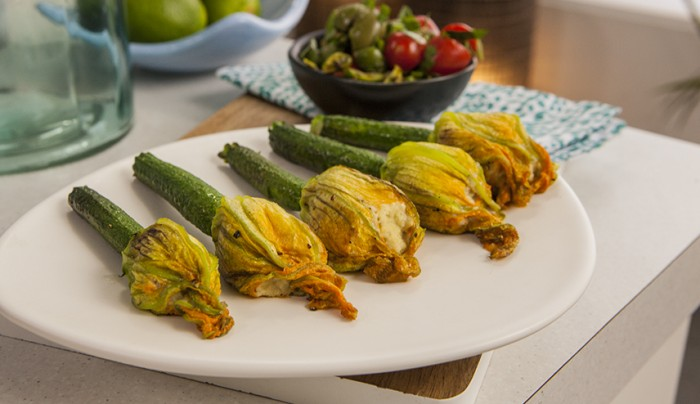 Zucchini Flowers Stuffed with Cashew Butter and Salsa