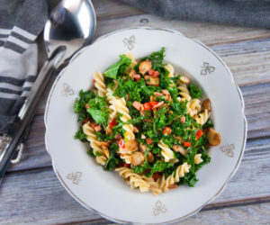Pasta with Kale, Bacon & Mushroom Sauce