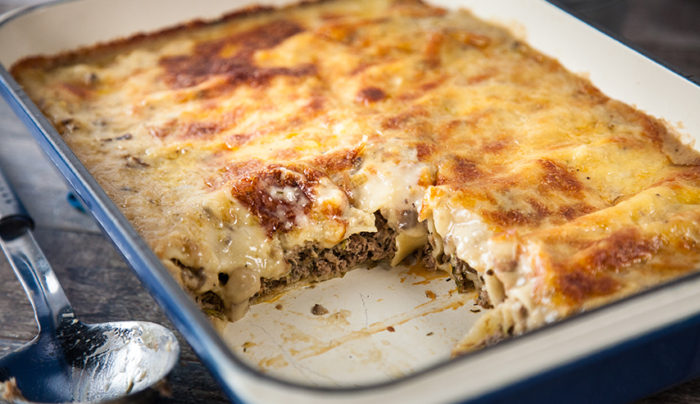 Braised Beef Cannelloni with Creamy Mushroom Sauce