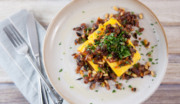 Pan-fried Polenta with Agrodolce Sauce