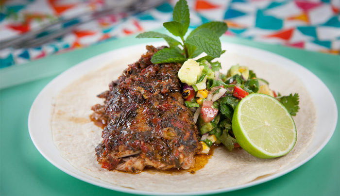 Mexican Pork Ribs with Grilled Corn Salsa