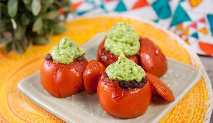 Mexican Stuffed Tomatoes with Avocado Puree