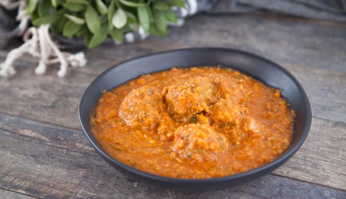 Meatballs with Roasted Tomato, Pumpkin and Chickpea Soup