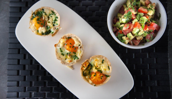 Mini Cup Baked Eggs Topped with Fresh Tomato Salsa