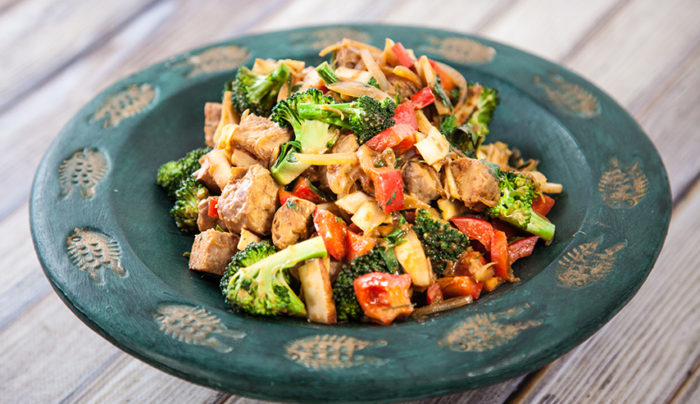 Stir-Fry Tempeh with Fresh Coconut