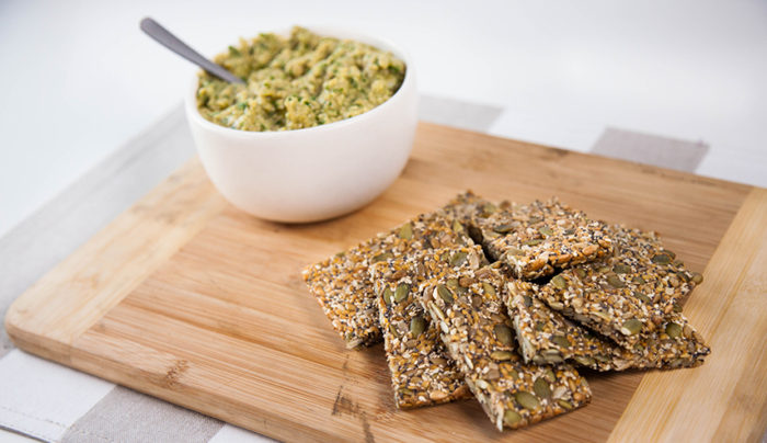 Homemade Seed Crackers with Green Olive Hummus