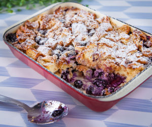 Blueberry Croissant Pudding