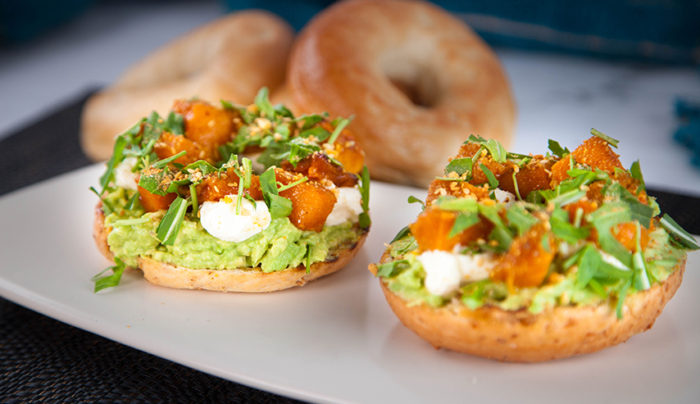 Moroccan Spiced Pumpkin, Labneh & Avocado Bagel