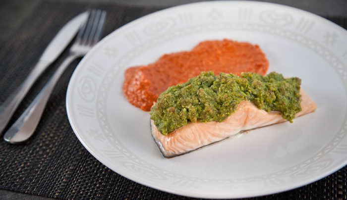 Nut Crusted Baked Salmon with Roast Capsicum Puree