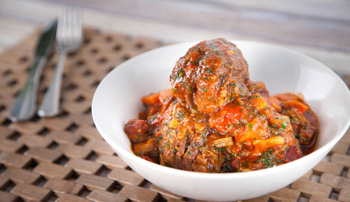 Oxtail Braised with Tomato Garlic and Thyme