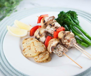 Pork Skewers with Chargrilled Potatoes