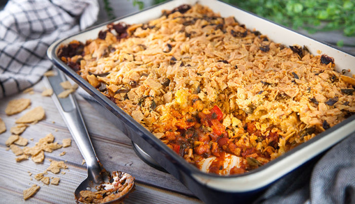 Mexican Bean and Bacon Casserole with Corn Chip Crust