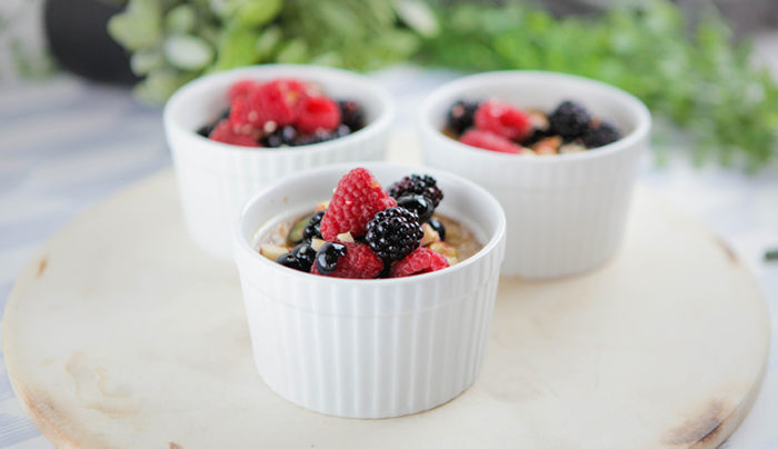 Maple Syrup Custard with Berry Almond Salad