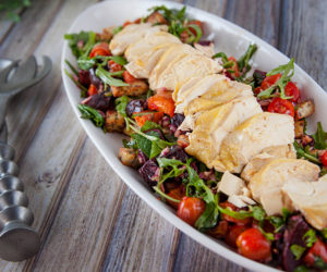 Olive Oil Poached Chicken with Beetroot Panzanella Salad