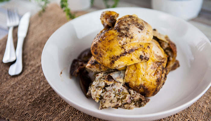 Lemon Myrtle Roasted Chicken with Lime Stuffing