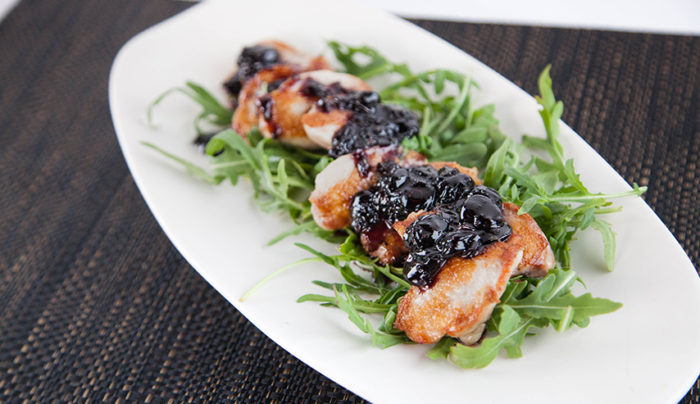 Quail with Blueberry Sauce
