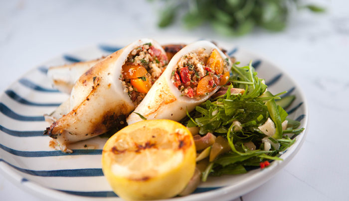 Tabbouleh Stuffed Squid Tubes