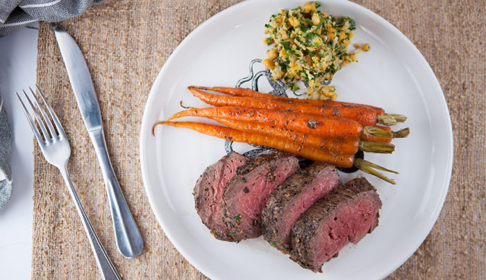 Garlic Eye Fillet with Roasted Dutch Carrots & Chickpea Mash