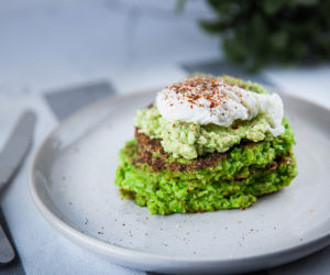 Pea Pancakes with Avocado and Poached Eggs