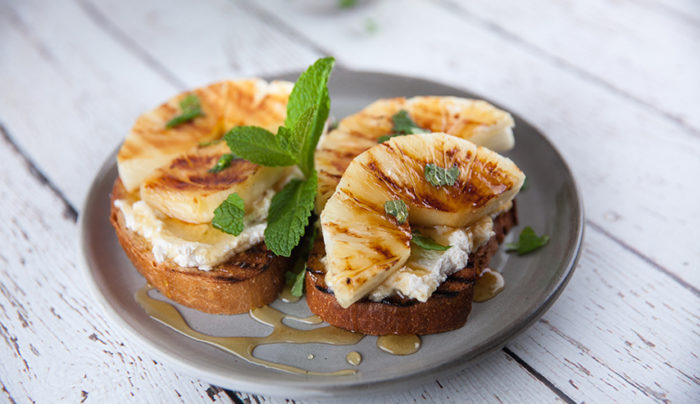 Whipped Cinnamon Ricotta and Grilled Pineapple on Toast