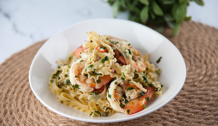 Curly Fettuccine with Lemon and Prawns