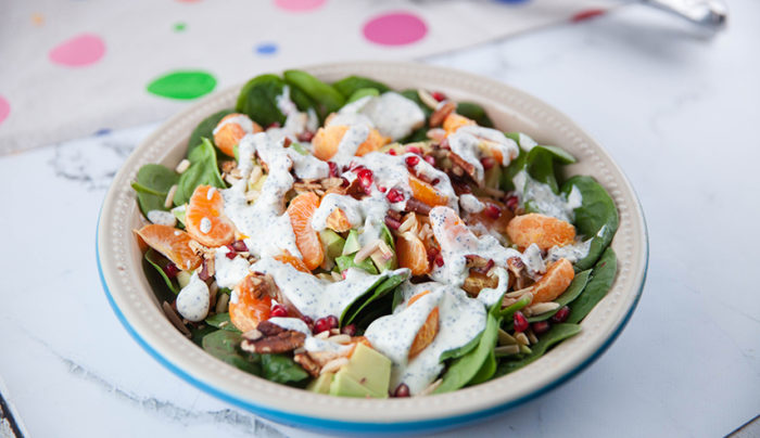 Mandarin, Pomegranate, Spinach Salad with Poppy Seed Dressing