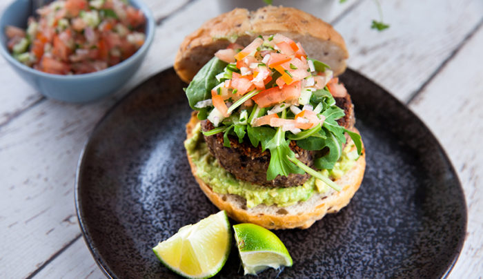 Black Bean Burger with Smashed Avocado