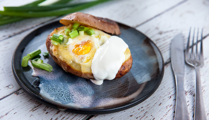 Egg and Cheese Baked Potatoes