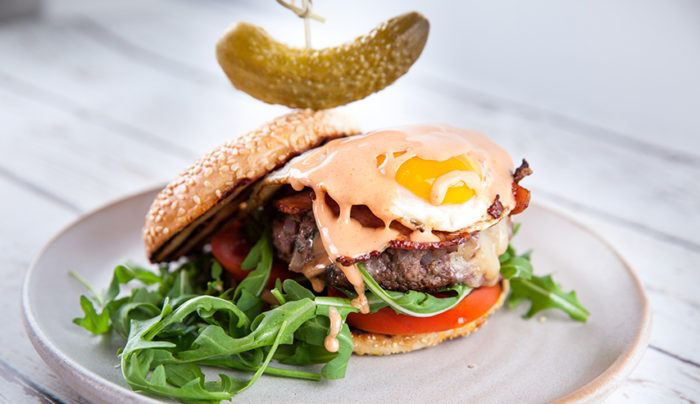 Breakfast Bagel Burger with Maple Aioli
