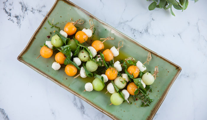 Melon Ball, Basil and Bocconcini Salad on a Stick