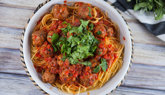 Spicy Moroccan Meatballs with Spaghetti