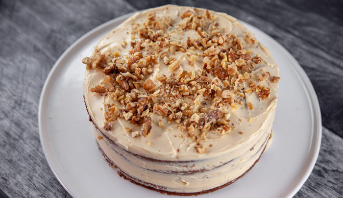 Coffee & Walnut Cake with Coffee Cream Cheese Frosting