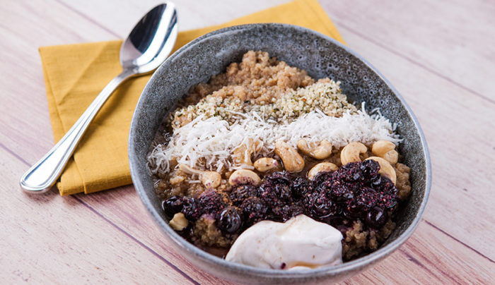 Quinoa Porridge with Blueberry Chia Jam