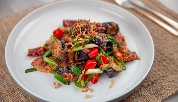 Chinese Eggplant with Pork in XO Sauce