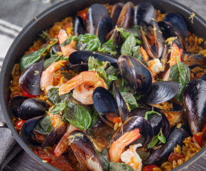 One Pot Prawn, Mussel and Chorizo Risoni