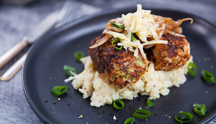 Glamorgan Sausages with Parsnip Mash & Caramelised Onions