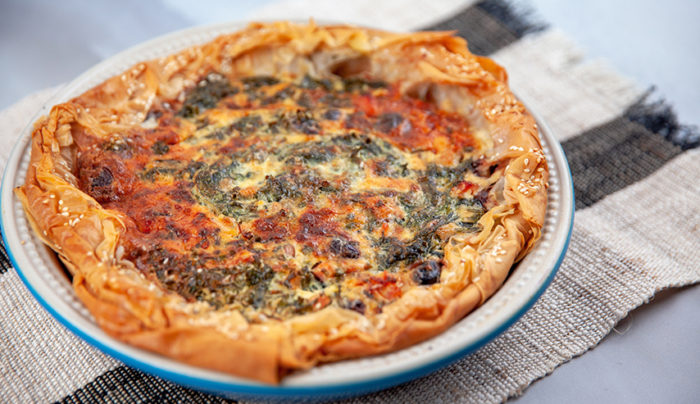 Spinach, Bacon and Olive Tart with Fillo