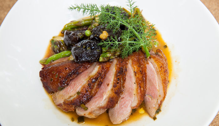 Crispy Skin Duck Breast, Asparagus & Peas with a Brandy & Prune Butter Sauce