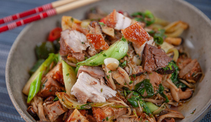Mushroom and Crispy Pork Stir Fry