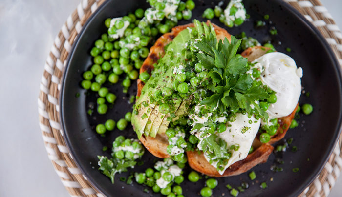 Avocado, Feta, Minted Pea, Poached Egg Breakfast