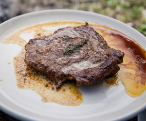 Rump Steak with Garlic Butter Sauce