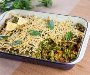 Vegan Pesto Red Lentil Pasta Bake