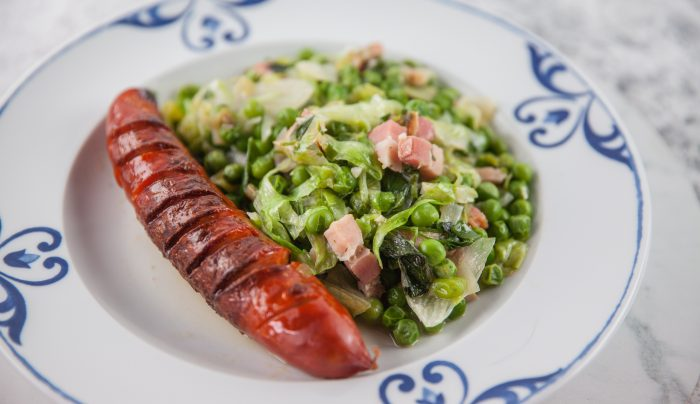 French Style Lettuce with Peas & Speck