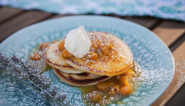 Lavender Pancakes with Cape Gooseberry Sauce
