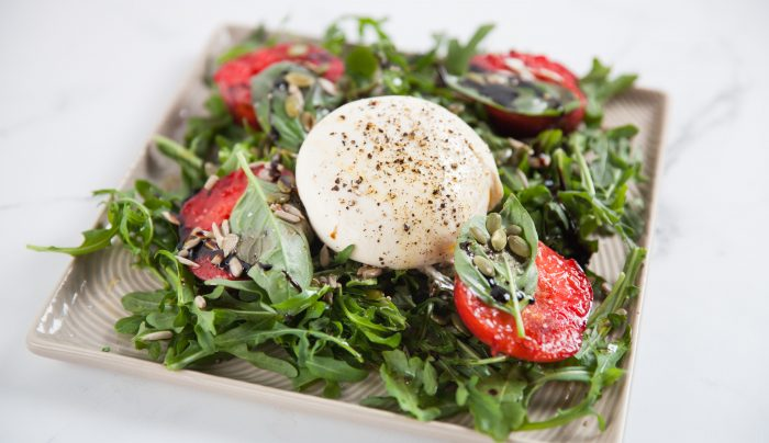 Grilled Plums, Burrata and Rocket