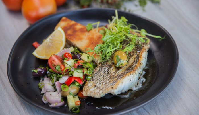 Seared Dhufish with Beer Bread and Tomato Chilli Salsa