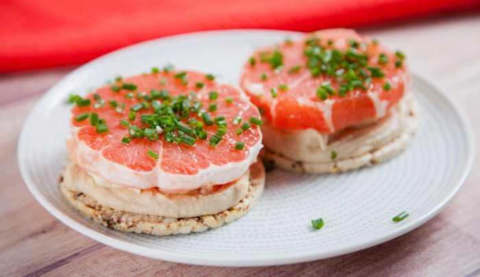 Grapefruit and Halloumi Corn Thins