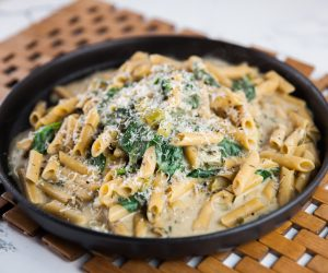 One Pot Pulse Pasta with Goats Cheese and Spinach