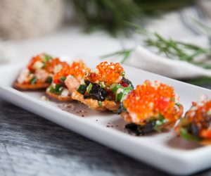 Salmon and Lime Crudo with Prawn Crackers