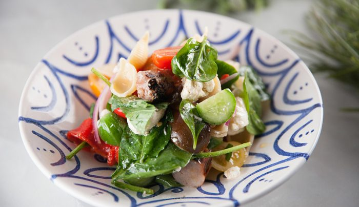 Lunchtime Pasta Salad with Pork & Caramelised Pear Sausage